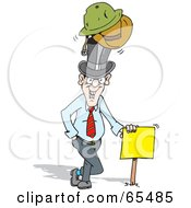 Male Realtor Wearing Many Hats And Leaning On A Sign