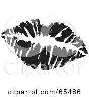 Royalty Free RF Clipart Illustration Of A Black And White Lipstick Kiss