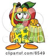Red Apple Character Mascot In Green And Yellow Snorkel Gear Clipart Picture