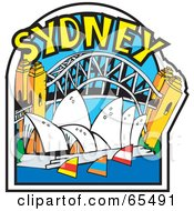 Royalty Free RF Clipart Illustration Of The Opera House Harbour And Bridge In Sydney by Dennis Holmes Designs
