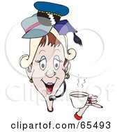 Royalty Free RF Clipart Illustration Of A Woman Talking On A Headset Drinking Coffee And Wearing Hats by Dennis Holmes Designs