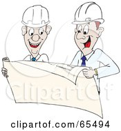 Royalty Free RF Clipart Illustration Of Two Builders Reviewing Plans