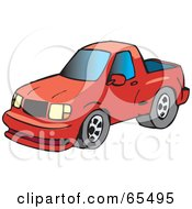 Royalty Free RF Clipart Illustration Of A Red Pickup Truck With Blue Windows