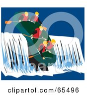 Royalty Free RF Clipart Illustration Of A Team Of Rafters Riding Down A Waterfall