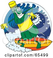Royalty Free RF Clipart Illustration Of A Green Soda Bottle Surfing by Dennis Holmes Designs