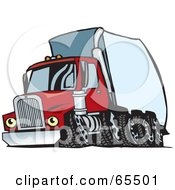 Royalty Free RF Clipart Illustration Of A Speeding Red Semi Truck With A White Trailer by Dennis Holmes Designs