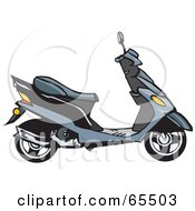 Royalty Free RF Clipart Illustration Of A Profiled Gray Moped