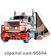 Royalty Free RF Clipart Illustration Of A Tough White Big Rig With A Metal Grille by Dennis Holmes Designs
