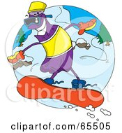 Royalty Free RF Clipart Illustration Of A Purple Soda Bottle Snowboarding by Dennis Holmes Designs
