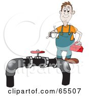 Royalty Free RF Clipart Illustration Of A Jolly Plumber Carrying Coffee And A Tool Box Towards Pipes by Dennis Holmes Designs