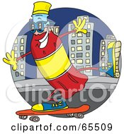 Royalty Free RF Clipart Illustration Of A Red Soda Bottle Jet Skateboarding In A City