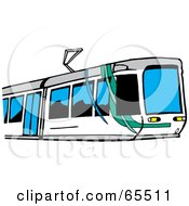 Royalty Free RF Clipart Illustration Of A Modern Money Train With Blue Windows