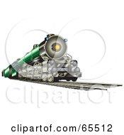 Green Train Riding On Tracks