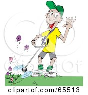 Royalty Free RF Clipart Illustration Of A Clueless Man Weed Wacking Flowers While Waving by Dennis Holmes Designs