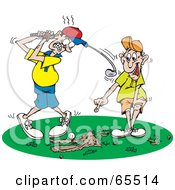 Man Pointing And Laughing At The Scrapes In The Grass While A Man Tries To Swing At A Golf Ball