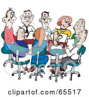 Royalty Free RF Clipart Illustration Of A Busy Office Meeting Of Adults by Dennis Holmes Designs