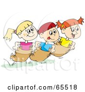 Royalty Free RF Clipart Illustration Of A Boy And Two Girls Racing In Potato Sacks by Dennis Holmes Designs