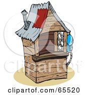 Royalty Free RF Clipart Illustration Of A Small Wooden Shack by Dennis Holmes Designs