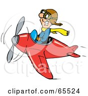 Royalty Free RF Clipart Illustration Of A Grinning Pilot Man Flying A Red Plane