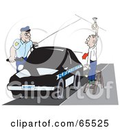 Royalty Free RF Clipart Illustration Of A Security Guard Watching A Man Change A Lightbulb