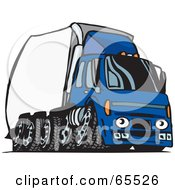 Royalty Free RF Clipart Illustration Of A Speeding Blue Semi Truck With A White Trailer by Dennis Holmes Designs