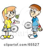 Royalty Free RF Clipart Illustration Of A Boy And Girl Playing Tennis And Smiling by Dennis Holmes Designs