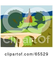 Royalty Free RF Clipart Illustration Of A Church In Tasmania by Dennis Holmes Designs
