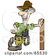 Royalty Free RF Clipart Illustration Of A Male Explorer Leaning Against A Pole