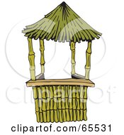 Royalty Free RF Clipart Illustration Of A Bamboo And Straw Hut by Dennis Holmes Designs