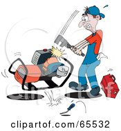 Royalty Free RF Clipart Illustration Of A Frustrated Man Whacking A Machine With A Wrench