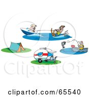 Royalty Free RF Clipart Illustration Of A Digital Collage Of People Fishing And Waterskiing And Camp Sites