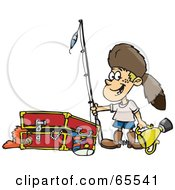 Royalty Free RF Clipart Illustration Of A Little Boy Playing Dressup And Standing By A Chest