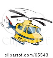 Royalty Free RF Clipart Illustration Of A Yellow And Blue Helicopter