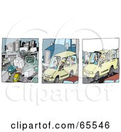 Royalty Free RF Clipart Illustration Of A Digital Collage Of Freeway Traffic And People Driving by Dennis Holmes Designs