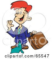 Royalty Free RF Clipart Illustration Of A Red Haired Business Boy Carrying A Briefcase