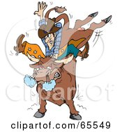 Royalty Free RF Clipart Illustration Of A Rodeo Cowboy On A Furious Bull