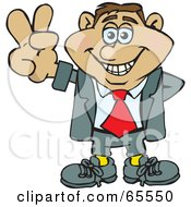 Royalty Free RF Clipart Illustration Of A Peaceful Businessman Gesturing The Peace Sign Version 3 by Dennis Holmes Designs