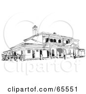 Royalty Free RF Clipart Illustration Of A Black And White Hotel Exterior by Dennis Holmes Designs