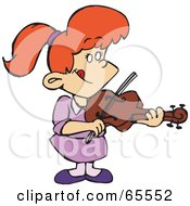 Royalty Free RF Clipart Illustration Of A Red Haired Girl Playing A Violin by Dennis Holmes Designs