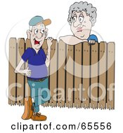 Royalty Free RF Clipart Illustration Of A Man And Woman Talking Over A Fence
