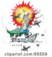 Royalty Free RF Clipart Illustration Of A Fishing Man Getting Bit In The Butt By A Crocodile Surrounded By Mosquitoes by Dennis Holmes Designs