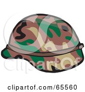Royalty Free RF Clipart Illustration Of A Camouflage Military Helmet