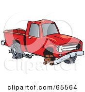 Royalty Free RF Clipart Illustration Of A Beat Up Pickup Truck Balanced On Bricks