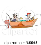 Royalty Free RF Clipart Illustration Of Fat And Skinny Men Fishing In A Boat by Dennis Holmes Designs