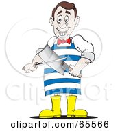 Royalty Free RF Clipart Illustration Of A Butcher Man Sharpening His Knife