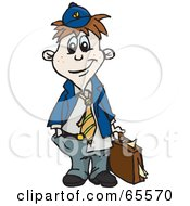 Royalty Free RF Clipart Illustration Of A Little Messy Business Boy Carrying A Briefcase by Dennis Holmes Designs