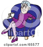 Royalty Free RF Clipart Illustration Of A Relaxed Granny Sipping Coffee In A Chair by Dennis Holmes Designs