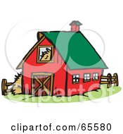 Royalty Free RF Clipart Illustration Of A Red Farm Barn With A Green Roof by Dennis Holmes Designs