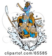 Royalty Free RF Clipart Illustration Of A Team Of Men Rowing A Boat by Dennis Holmes Designs