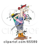 Royalty Free RF Clipart Illustration Of A Wet Man Carrying A Fish Net And Wearing A Flashlight On His Head by Dennis Holmes Designs